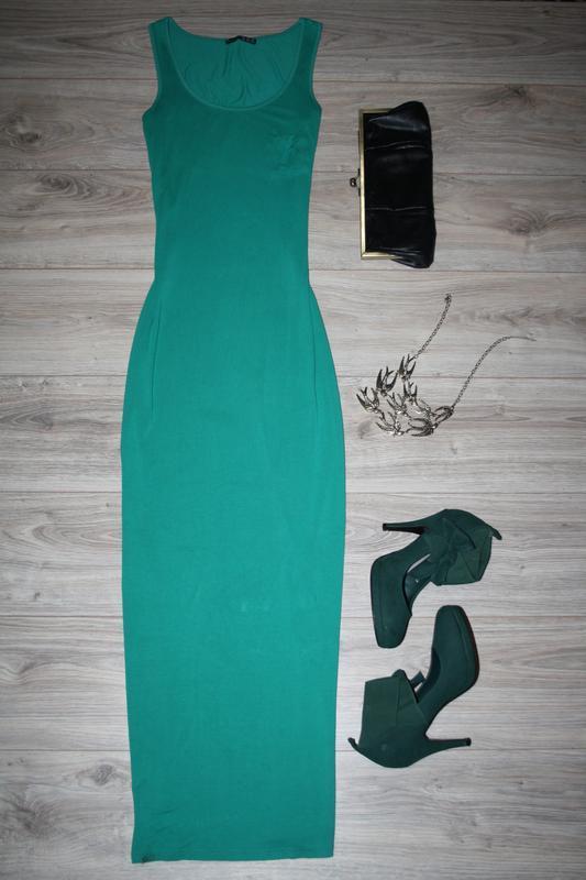 9e22cf3fff6 Зеленое платье-майка в пол Atmosphere