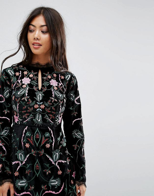 Frock and frill розкішна вишита оксамитова сукня ASOS ca504d1ae536f