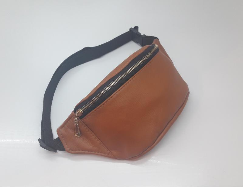 c5f490769e36 Женская сумка на пояс бананка рыжая натуральная кожа светло коричневая1  фото ...