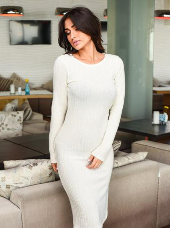 dd5569da465 Белое трикотажное платье гольф скини скинни лапша в рубчик topshop1 фото ...