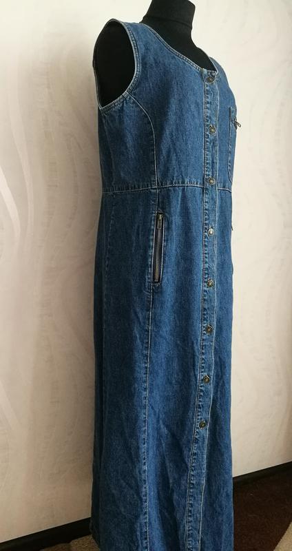c85f34f38b7 ... Длинный джинсовый сарафан платье халат в пол макси2 фото ...