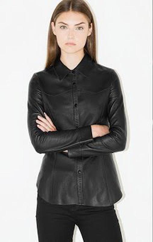 b7ec9c8bf6c1ba5 Очень хорошая кожаная рубашка женская приталенная черная! фирма: next1 фото  ...