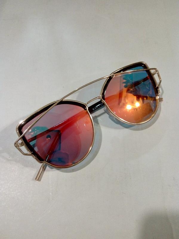 d57b30b01702 Очки солнцезащитные полузеркальные модные женские металлическая оправа1 ...