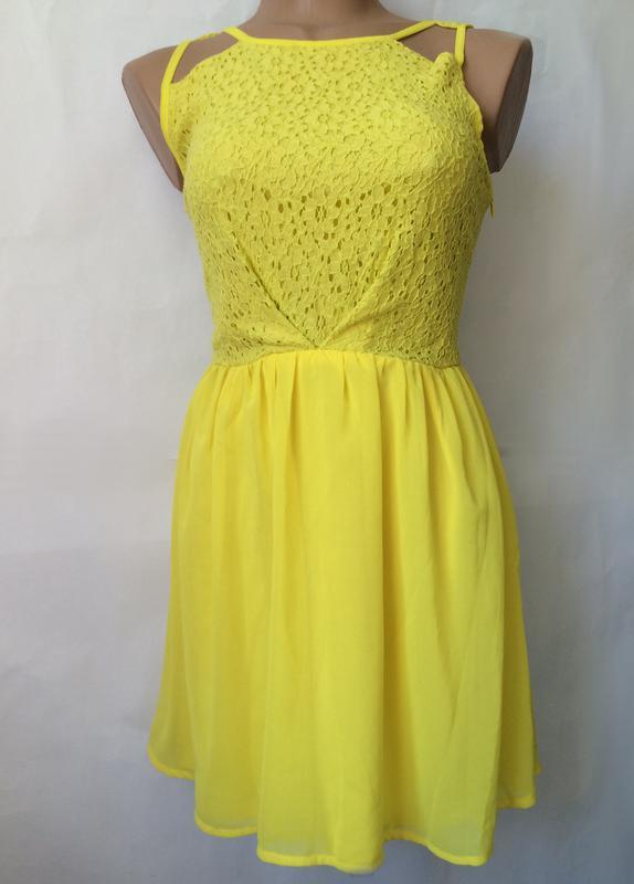 Жовте міні плаття сукня мереживо гіпюр шифон poppy lux1 ... eae81e6bae6f6