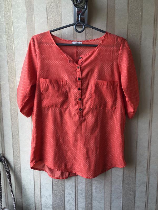 aabab509cef Оранжевая блуза в горошек Pull Bear