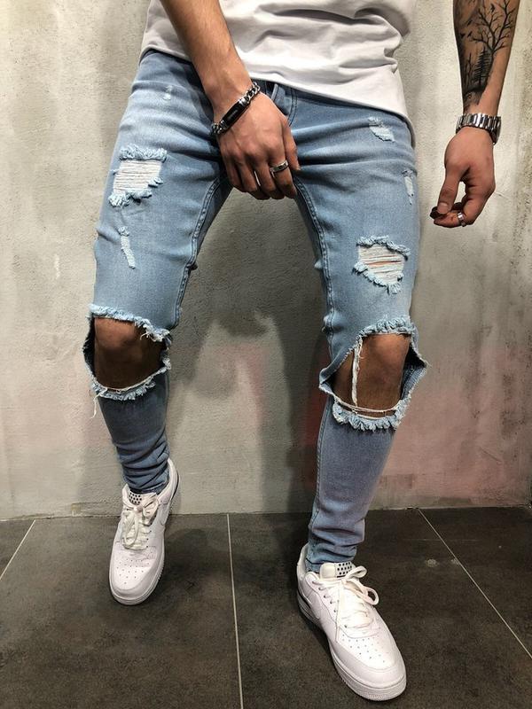 485ab556435 Мужские джинсы с дырками на коленях (рваные джинсы) голубые зауженные1 фото  ...