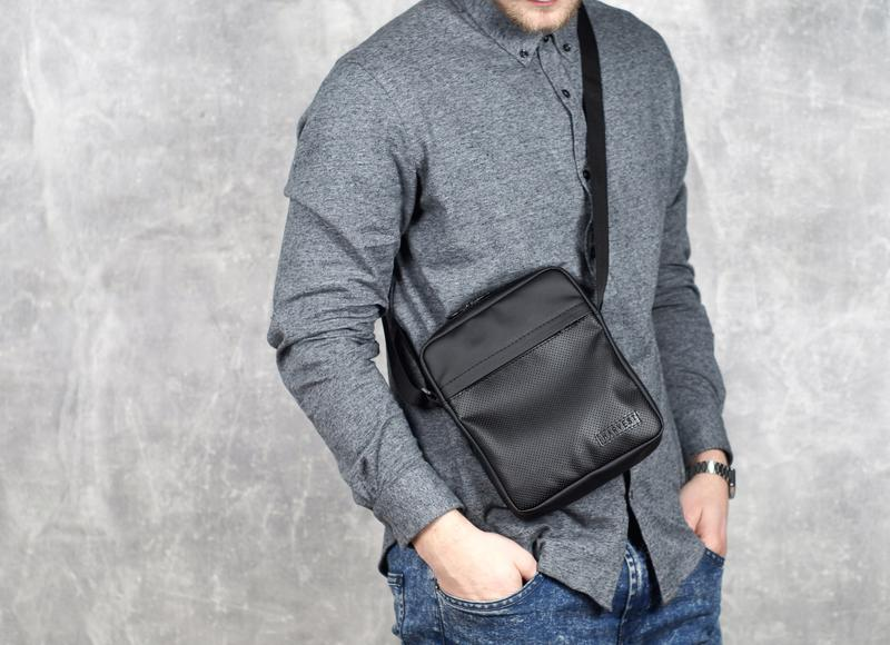 268f6e011ea3 Черная мужская сумка - планшет, мессенджер кожаный (сумка через плечо) eco  leather black1 ...
