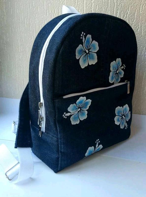 1dd2c9493037 Джинсовый рюкзак ручной работы с цветочным рисунком., цена - 300 грн ...