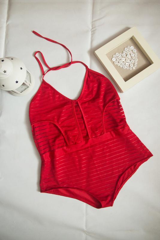 Красный купальник с прозрачными вставками полосками ZARA bca880883d003