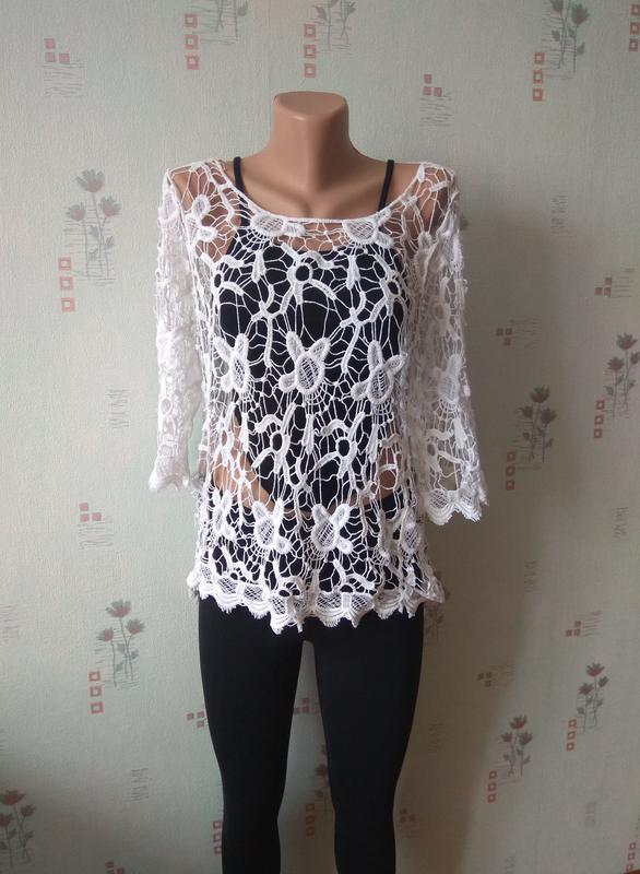 f381904d65a Стильная эффектная кружевная белая прозрачная туника кружево блуза1 ...