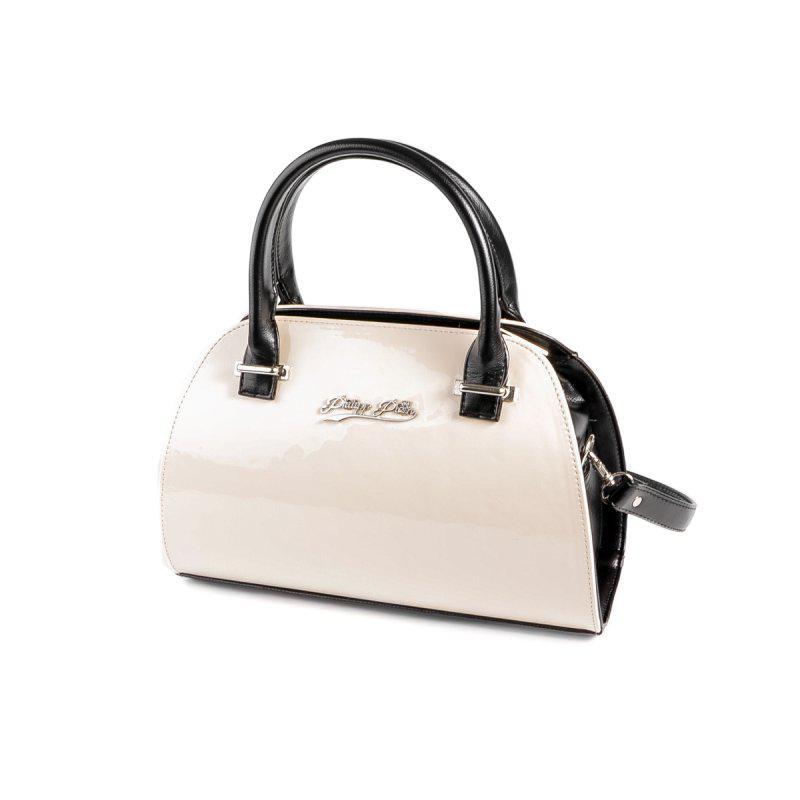 e07dfc13b78c Молочная лаковая летняя сумка саквояж с черными вставками и ремешком через  плечо1 фото ...