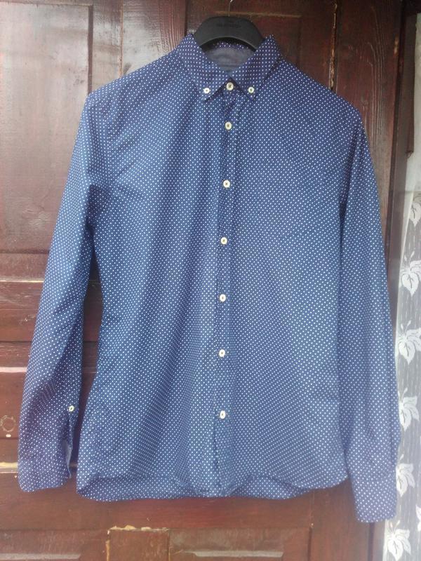 e84fb32db68a47e Мужская рубашка в точку горошек синяя слим tu premium TU, цена - 250 ...