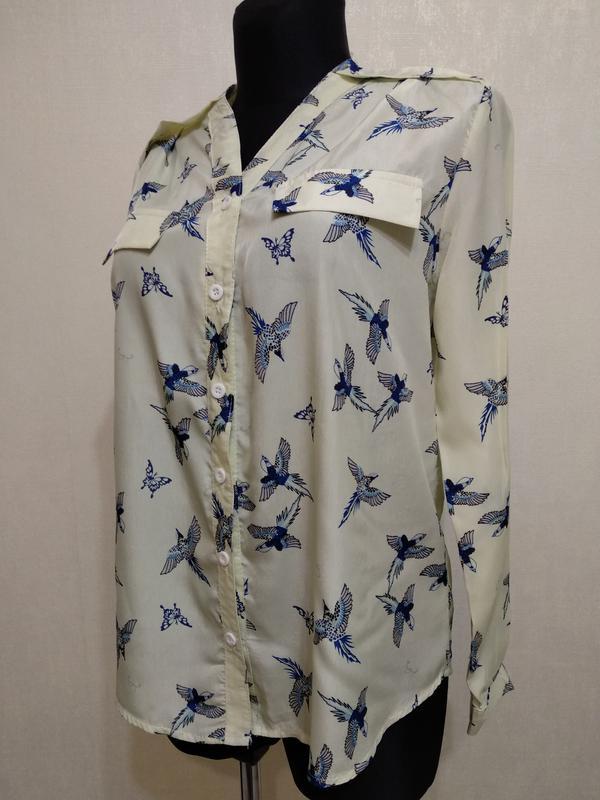 5fc7d3f88a4 Блузка в птичках нежно лимонного цвета zhuoya1 ...