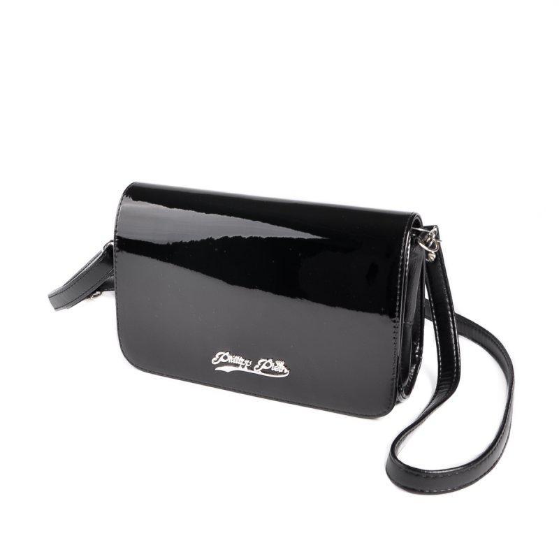 01e9f1ac9944 Черная лаковая маленькая сумка клатч через плечо кроссбоди1 фото ...