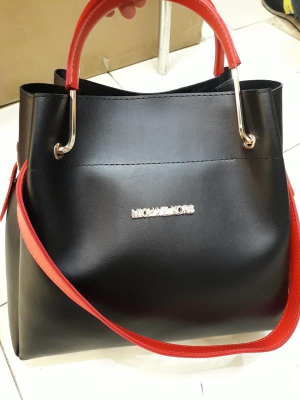 3a8fd70b655a Стильная женская черно-красная сумка вместительная 2в1,сумка +клатч,разн.  цвета1
