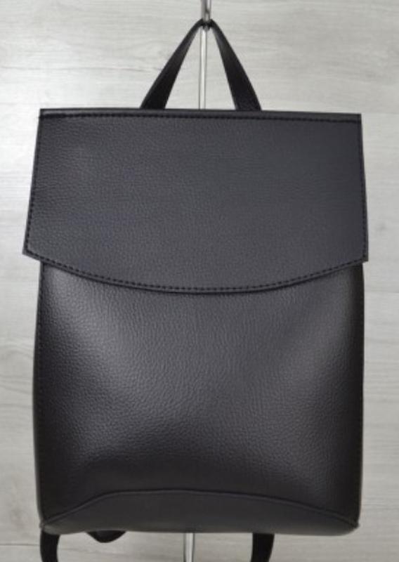 a3f11fb2fb87 2в1чёрный рюкзак сумка трансформер из кожзама..женский молодежный городской  рюкзак экокожа1 фото ...