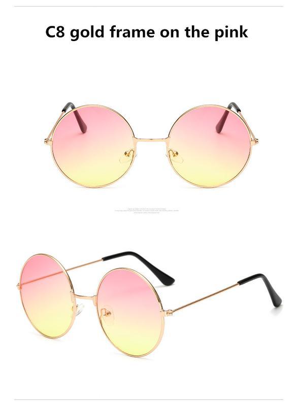 a71591ee7142 Круглые очки от солнца с тонкой металлической оправой линза розово-желтый  градиент1 ...