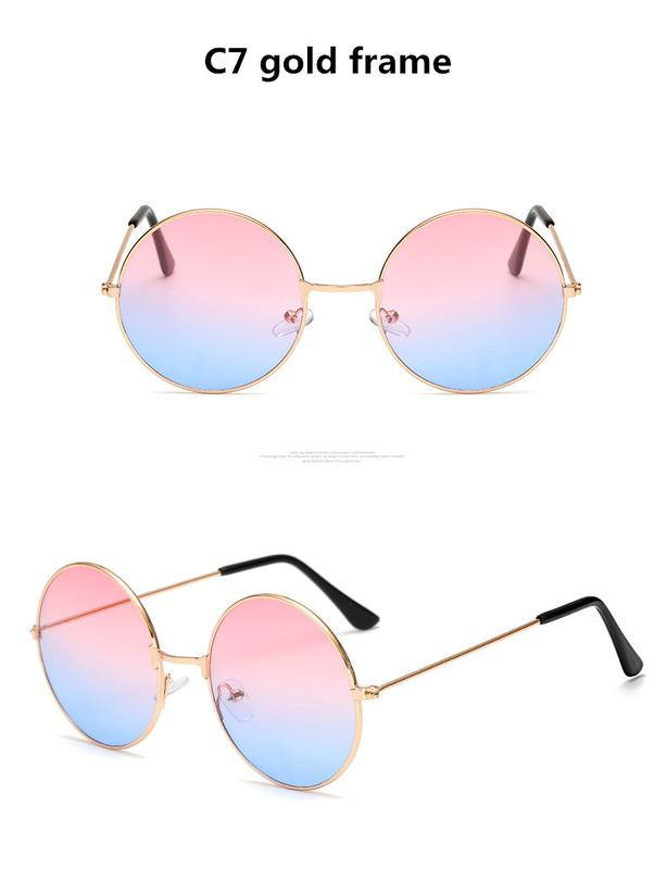 bc0f1668ddf2 Круглые очки от солнца с тонкой металлической оправой линза розово-синий  градиент1 ...