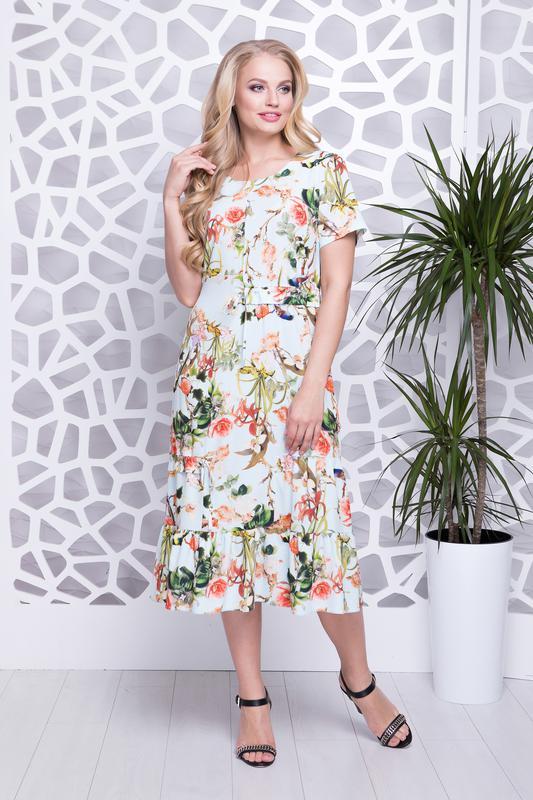 f29ffa1fe5e9ed6 Легкое ,летнее платье миди с цветочным принтом батал размеры 52,54,56, ...