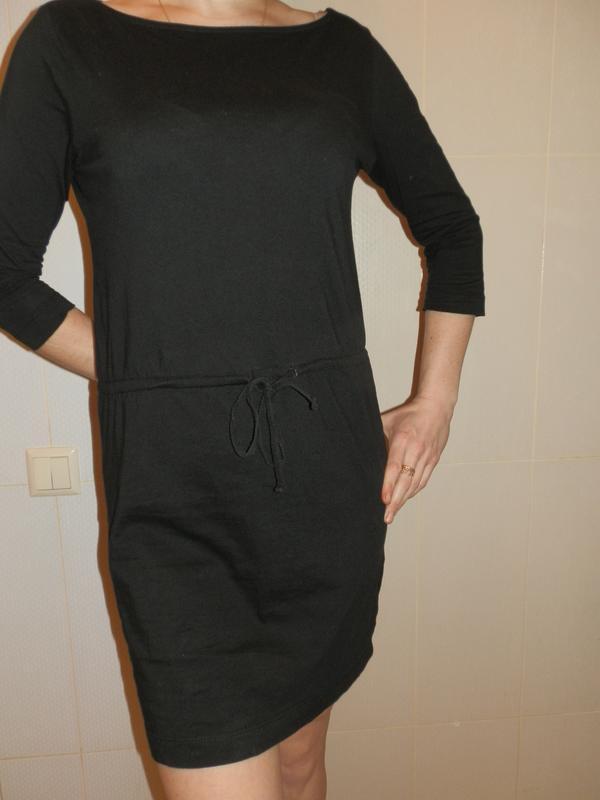 3816a62dcc3 Черное трикотажное прямое спортивное платье рукав 3 4 размер s m1 фото ...