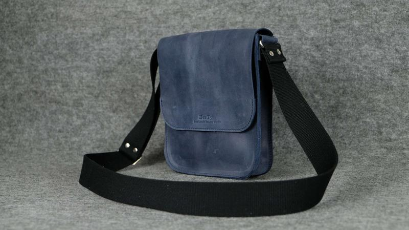 69e04503b7f0 Кожа. ручная работа. кожаная синяя мужская сумка через плечо. барсетка1  фото ...