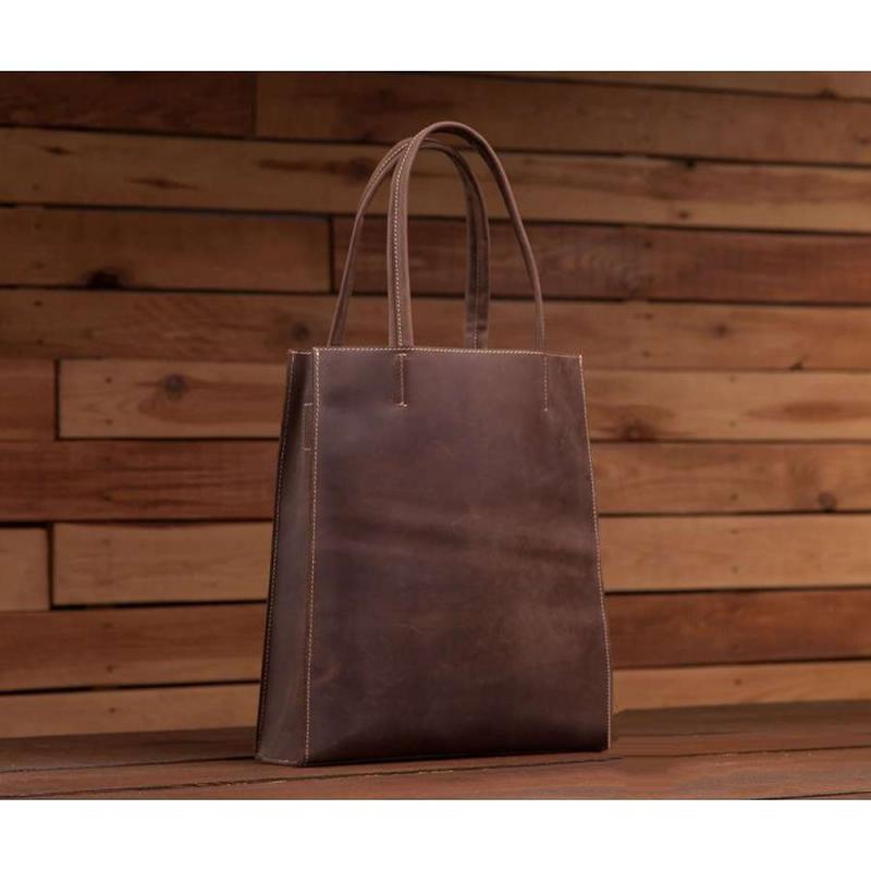 0576a771062f Стильная модная женская кожаная тоут шоппер коричневая винтажная сумка  хендмейд1 фото ...