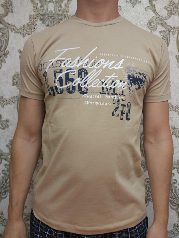 4c50df72011fe Мужская бежевая футболка с надписью рисунком с м л хл 2хл1 фото ...