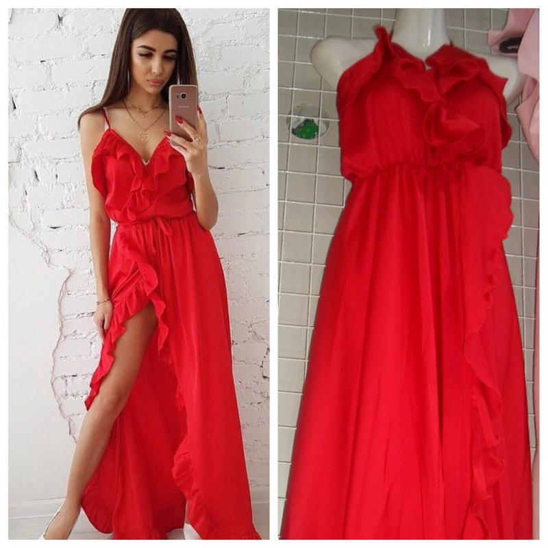 7df137f7732 Шикарное яркое красное шелковое длинное платье на запах с рюшами смл 6  цвета1 фото ...