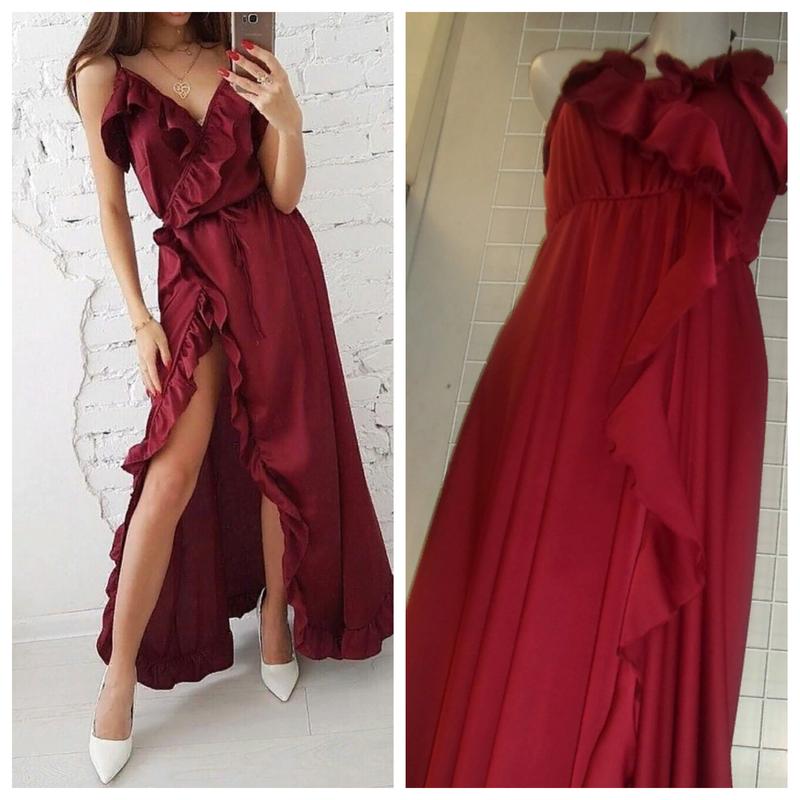 c833c174d67 Шикарное бордовое шелковое длинное платье на запах с рюшами смл 6 цвета1  фото ...