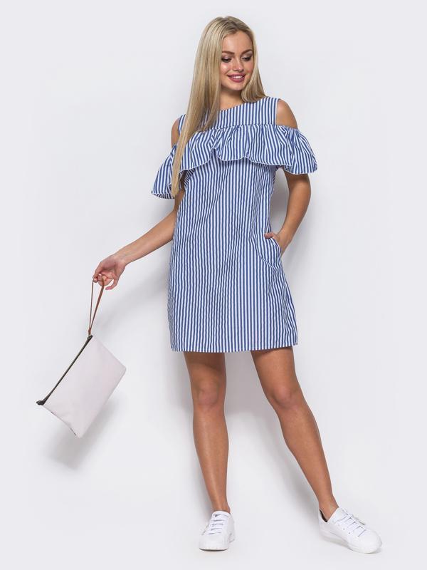 ba46bebe90c Платье сарафан в полоску с открытыми плечами размер 421 фото ...