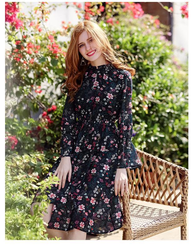 1d9a864b324ae51 Легкое шифоновое платье,цветочный принт,беби долл,приталенное,1 фото ...