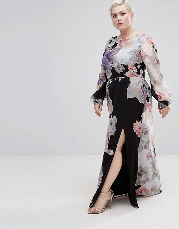 f0f236287cd1f Черное платье макси с длинными рукавами и цветочным принтом asos1 фото ...