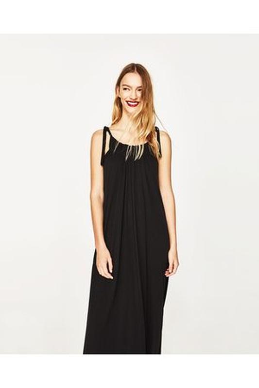 af70464b470 Черное длинное платье-сарафан zara1 фото ...