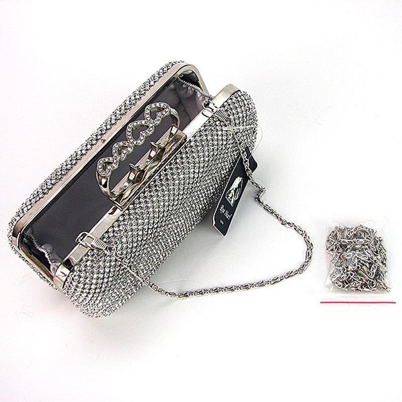 2d6f2452d6fa Серебристая вечерняя маленькая сумка-клатч бокс из камней через плечо со  стразами1 ...