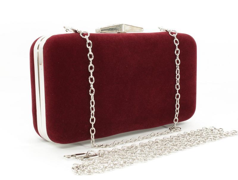 Велюровый клатч rose heart 09829-1 бордовый, сумочка на цепочке1 ... f5517e67ed5