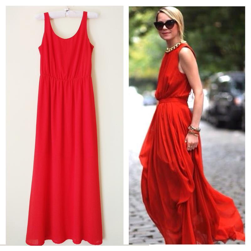 e6e678d1448 Шифоновое красное платье в пол1 фото ...