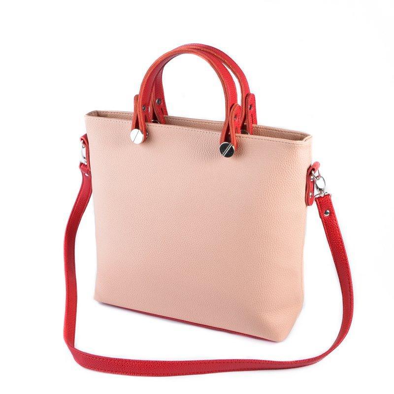 746f16130a7e Розовая женская сумка деловая с красными ручками и ремешком через плечо1  фото ...