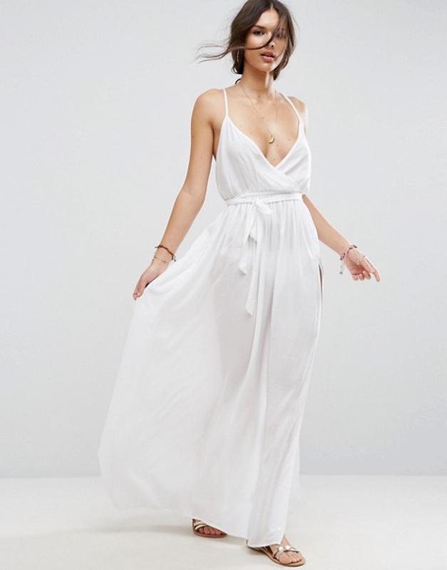4e27afa2133 Милое белое платье в пол под шифон с разрезом zara1 фото ...