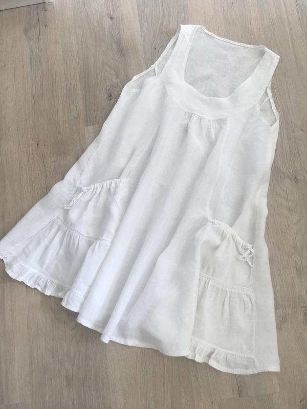 8f5483f1ccb Белоснежное платье сарафан 100% лен италия Италия