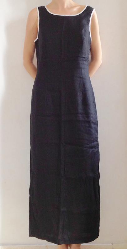 e4a5df61366 Длинное льняное черное платье в пол с пиджаком костюм размер m l xl1 фото  ...