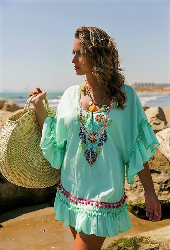 6dc2623ad0ae49c ... Яркая пляжное платье туника мятного цвета в стиле бохо вышивка испания  48 502 фото ...