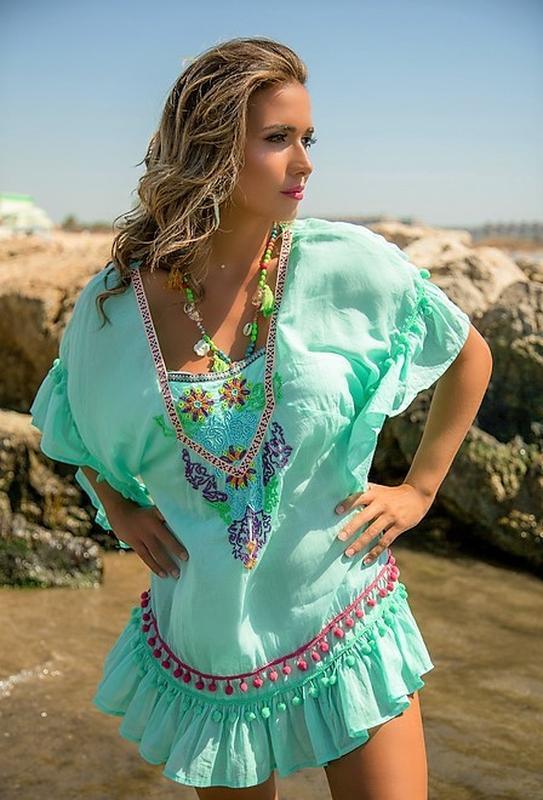 f65717b2cf60c6f Яркая пляжное платье туника мятного цвета в стиле бохо вышивка испания 48  501 фото ...