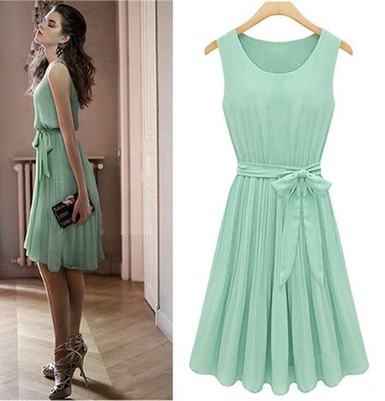 1dff2a490c1 Мятное шифоновое летнее платье миди плиссе с поясом1 ...