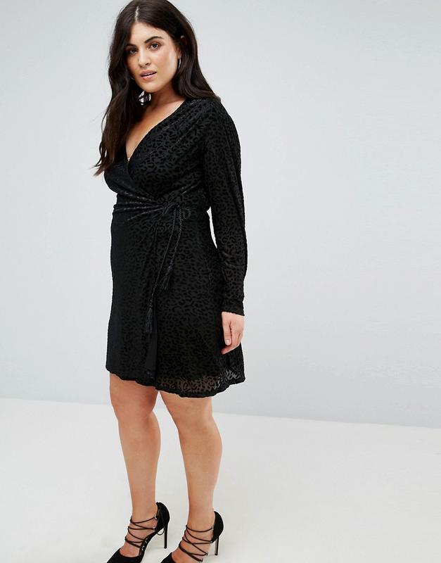 Fashion union plus чорна сукня гепард на запах1 ... 3b1b1b131f16e