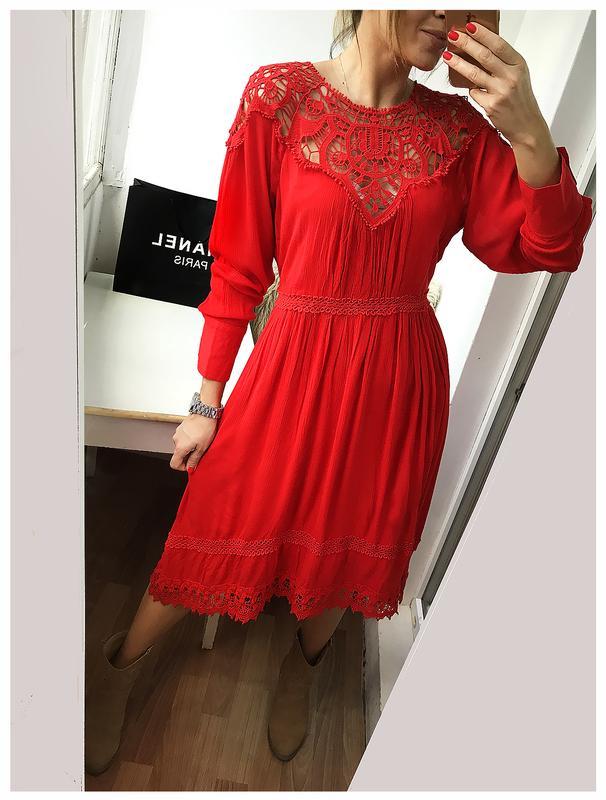 08280bd156a Невероятной красоты алое платье из натурального хлопка в стиле бохо ...