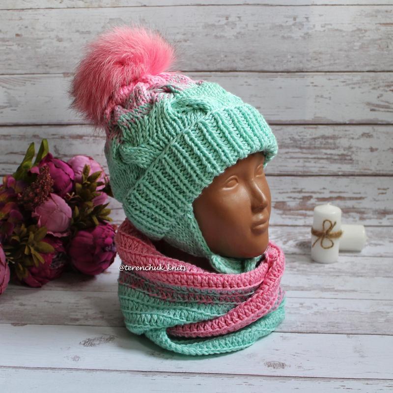 Детский комплект шапка косами и снуд градиент ручной работы Ручная ... b32d5a26e9136
