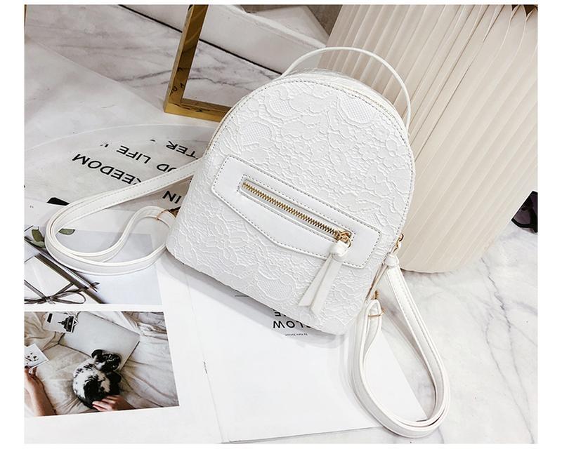 d05594efc238 Рюкзак женский белый из экокожи с кружевной отделкой нарядный1 фото ...
