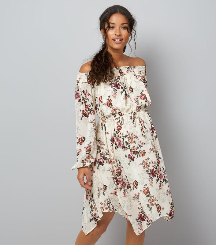 Красивое летнее пляжное платье в цветочный принт с открытыми плечами1 ... f4c27a0b1b764