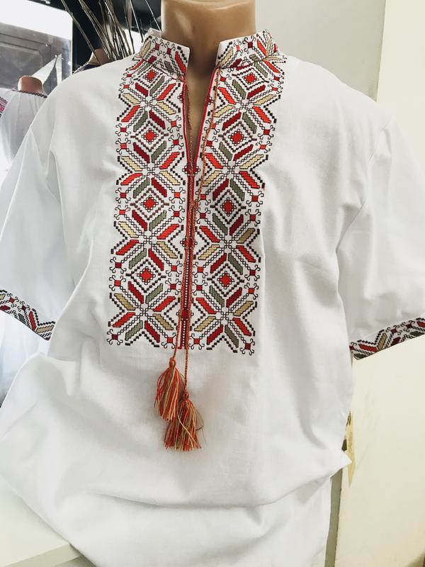 Хлопковая мужская рубашка с вышивкой вышиванка чоловіча вишиванка размеры  48 6553c136a2914
