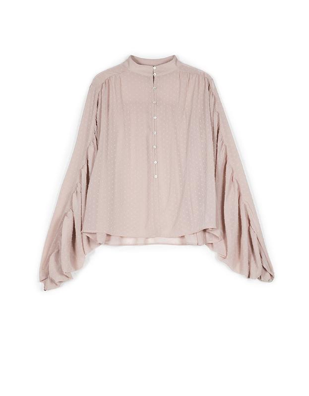 820faca9bb1 ... Шифоновая блузка блуза нюд пудрового цвета в горошек stradivarius2 фото  ...